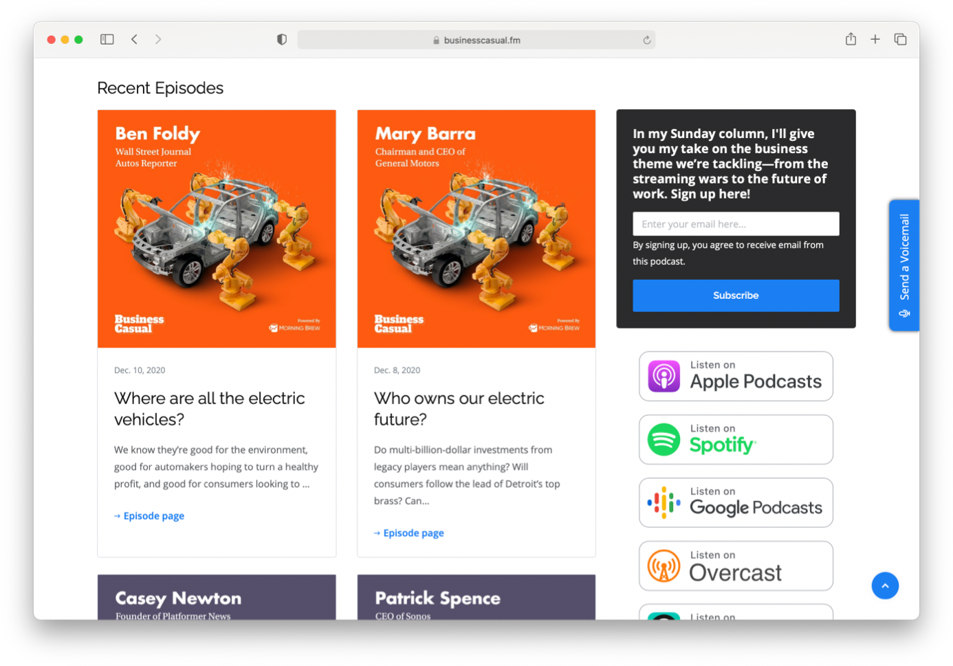 an example Podpage podcast website
